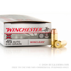 50 Rounds of .45 ACP Ammo by Winchester WinClean - 230gr BEB - LE Trade-In