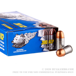 50 Rounds of .380 ACP Ammo by Silver Bear (Steel Case) - 94gr FMJ