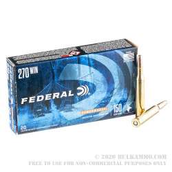 20 Rounds of .270 Win Ammo by Federal - 150gr SP