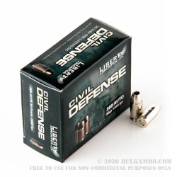20 Rounds of .380 ACP Ammo by Liberty Civil Defense Ammunition - 50gr SCHP