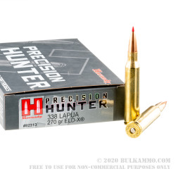20 Rounds of .338 Lapua Ammo by Hornady Precision Hunter - 270gr ELD-X
