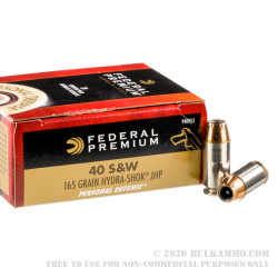 500 Rounds of .40 S&W Ammo by Federal Premium - 165gr Hydra-Shok JHP