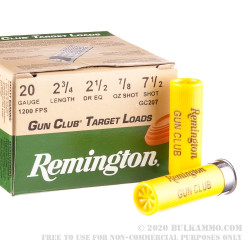 "25 Rounds of 20ga Ammo by Remington Gun Club Target Load - 2-3/4"" 7/8 ounce #7 1/2 shot"