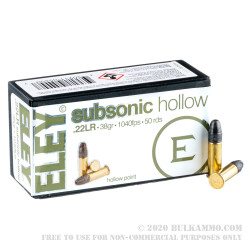 50 Rounds of .22 LR Ammo by Eley Subsonic - 38gr HP