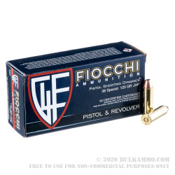 1000 Rounds of .38 Special Ammo by Fiocchi - 125gr JHP