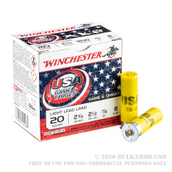 250 Rounds of 20ga Ammo by Winchester USA Game & Target - 7/8 ounce #8 shot