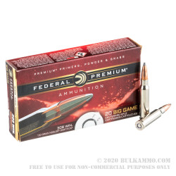 20 Rounds of .308 Win Ammo by Federal - 150gr Nosler Partition