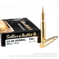 20 Rounds of 30-06 Springfield Ammo by Sellier & Bellot - 180gr FMJ
