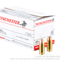 300 Rounds of .45 ACP Ammo by Winchester USA in Ammo Can - 230gr FMJ in Ammo Can