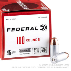 1000 Rounds of .45 ACP Ammo by Federal Champion (Aluminum) - 230gr FMJ