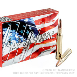 20 Rounds of 30-06 Springfield Ammo by Hornady American Whitetail - 180gr SP
