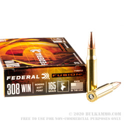 20 Rounds of .308 Win Ammo by Federal - 165gr Fusion