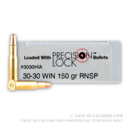 20 Rounds of 30-30 Win Ammo by PMC Precision - 150gr RNSP InterLock