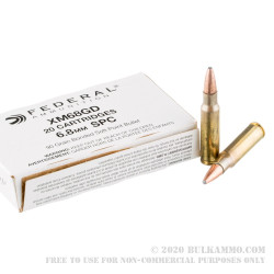 500 Rounds of 6.8 SPC Ammo by Federal XM68GD - 90gr Bonded Soft Point