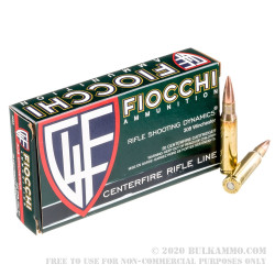 200 Rounds of .308 Win Ammo by Fiocchi - 150gr FMJBT