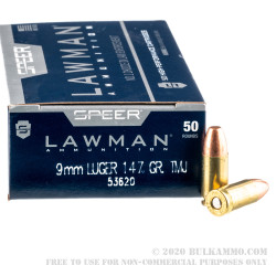 1000 Rounds of 9mm Ammo by Speer - 147gr TMJ