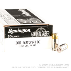 500 Rounds of .380 ACP Ammo by Remington Golden Saber - 102gr BJHP