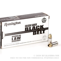 50 Rounds of 9mm Ammo by Remington Golden Saber Black Belt - +P 124gr JHP