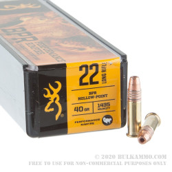 100 Rounds of .22 LR Ammo by Browning Performance Rimfire - 40gr HP