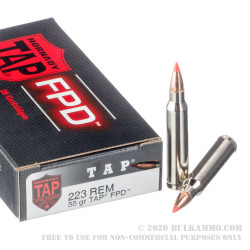 20 Rounds of .223 Ammo by Hornady - 55gr TAP FPD