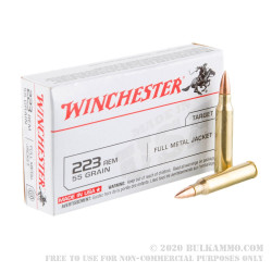 20 Rounds of .223 Ammo by Winchester USA - 55gr FMJ