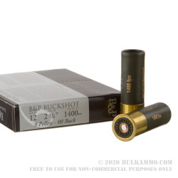 "100 Rounds of 12ga Ammo by Baschieri & Pellagri - 2-3/4"" 1 1/5 ounce 00 Buck"