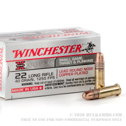 500 Rounds of .22 LR Ammo by Winchester Super-X - 40gr Copper Plated Round Nose