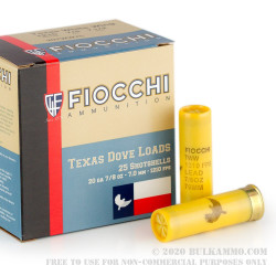 "250 Rounds of 20 Gauge 2-3/4"" Ammo by Fiocchi Texas Dove Load - 7/8 ounce #7 1/2 shot"