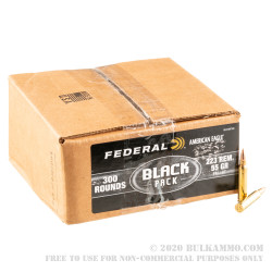 300 Rounds of .223 Ammo by Federal American Eagle Black - 55gr FMJBT