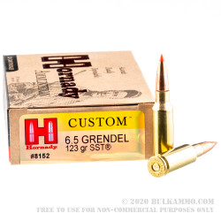 20 Rounds of 6.5mm Grendel  Ammo by Hornady - 123gr SST