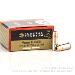 20 Rounds of 9mm Ammo by Federal - 147gr JHP