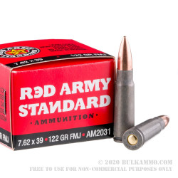 180 Rounds of 7.62x39mm Ammo by Red Army Standard - 122gr FMJ