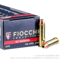 50 Rounds of .357 Mag Ammo by Fiocchi - 148gr JHP