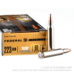 20 Rounds of .223 Ammo by Federal Premium - 60gr Nosler Partition