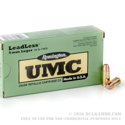 500  Rounds of 9mm Ammo by Remington Leadless - 124gr FNEB