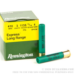 25 Rounds of .410 Ammo by Remington Express Long Range -  3 in - #4 shot