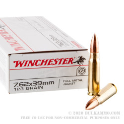 20 Rounds of 7.62x39mm Ammo by Winchester USA - 123gr FMJ