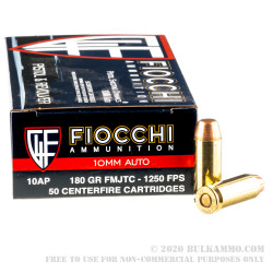 500 Rounds of 10mm Ammo by Fiocchi - 180gr FMJTC