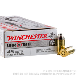 500 Rounds of .45 ACP Ammo by Winchester 1911 - 230gr FMJ