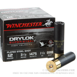 25 Rounds of 12ga Ammo by Winchester DryLok Super Steel - 1-1/2 ounce BBB shot