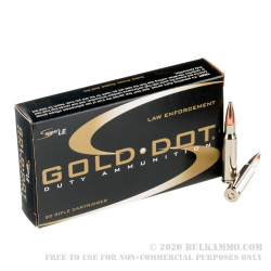 20 Rounds of .308 Win Ammo by Speer Gold Dot - 150gr SP