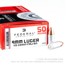 1000 Rounds of 9mm Ammo by Federal Champion (Aluminum) - 115gr FMJ