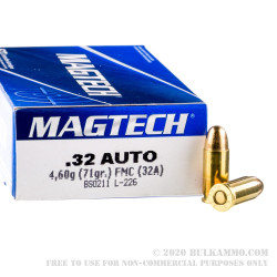 50 Rounds of .32 ACP Ammo by Magtech - 71gr FMJ