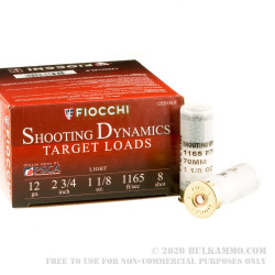 """25 Rounds of 12ga Ammo by Fiocchi - 2-3/4"""" 1 1/8 ounce #8 shot"""