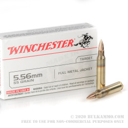 20 Rounds of 5.56x45 Ammo by Winchester - 55gr FMJ