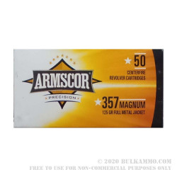 1000 Rounds of .357 Mag Ammo by Armscor - 125gr FMJ
