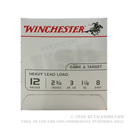 """25 Rounds of 12ga Ammo by Winchester USA - 2 3/4"""" 1 1/8 ounce #8 shot"""