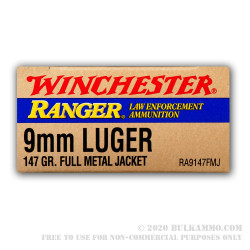 50 Rounds of 9mm Ammo by Winchester - 147gr FMJ