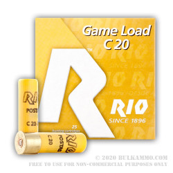 "25 Rounds of 20ga 2-3/4"" Ammo by Rio Ammunition - 1 ounce #9 shot"