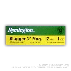 "5 Rounds of 12ga 3"" Ammo by Remington Slugger - 1 ounce Rifled Slug"